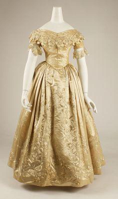 Wedding Dress: 1837, French, silk.