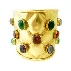 Vintage Signed Chanel Gripoix Glass Quilted Cuff by None, via Polyvore