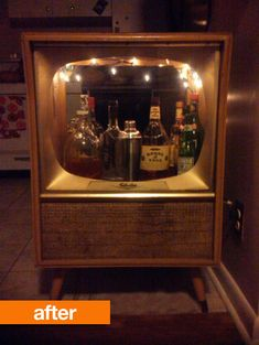 Old TV turned into a bar - via: http://www.curbly.com/