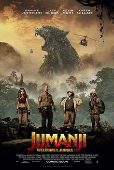 Jack Black, Kevin Hart, Dwayne Johnson, and Karen Gillan in Jumanji: Welcome to the Jungle Great Movies, New Movies, Movies To Watch, Popular Movies, Latest Movies, Movies Free, Jack Black, Jurassic World, Jumanji Movie