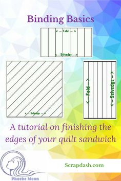 How do you make bias, straight grain or knife edge binding? This tutorial explains different types of binding used to finish a quilt and how to sew them, including corners. There are links to a binding calculator and chart as well as other tips and techn Quilting 101, Quilting For Beginners, Quilting Tutorials, Quilting Projects, Sewing Tutorials, Sewing Projects, Quilting Ideas, Bias Binding, Quilt Binding