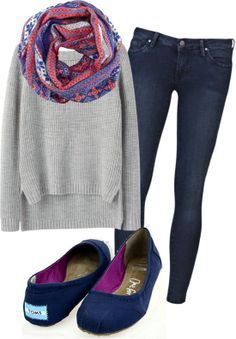 Grey sweater, scarf that has the color of the shoes. Liven it up, no dark colors!
