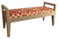 "Solana 54"" Bench, White/Tangerine"