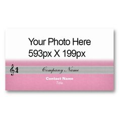 Musical Notation feathered Your Photo or Logo pink Business Card Template