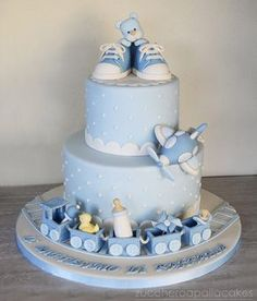 Christening Cake For Baby Boy Torta Baby Shower, Baby Shower Cakes For Boys, Baby Boy Cakes, Fondant Cakes, Cupcake Cakes, Gateau Baby Shower Garcon, Christening Cake Boy, Cake For Baptism Boy, Teddy Bear Cakes