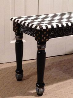 Whimsical Painted Bench // Checkered Bench by MicheleSpragueDesign