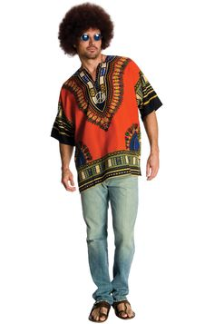 Mens 60/'s Brown Hippy Afro Wig Headband /& Necklace Set Fancy Dress Jimi Hendrix