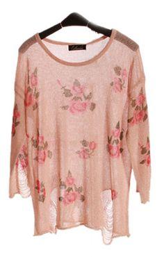 Pink Rose Flowers Print Ripped Distressed Long Sleeve Jumper - Sheinside.com $29.00