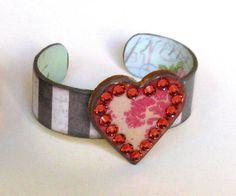 Pink Swarovski Crystal Heart Cuff Bracelet by BlissfulThinkin, $42.00