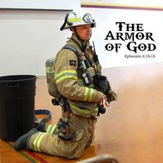 The Fireman's Armor of God - A local firefighter relates putting on the armor of God to getting ready to fight a fire. What a powerful visual of preparation! Firefighter Paramedic, Firefighter Quotes, Firefighters Girlfriend, American Firefighter, Firemen, Fire Dept, Fire Department, Bible Lessons, Object Lessons
