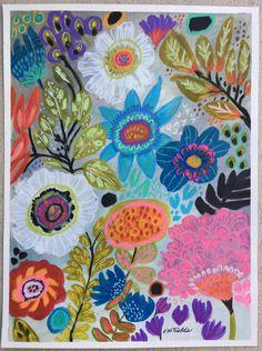 Flores de Bohemia paisaje abstracto mezclan medios de pintura