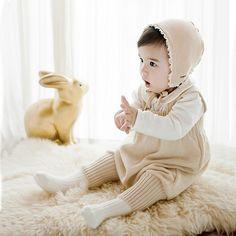 Mameluco Del Bebé Recién Nacido de Punto Babero de Algodón Niños Pantalones niños Niñas Ropa de Escalada Infantil General Uno-pedazos de Ropa Linda mono
