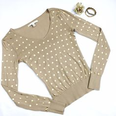 Lauren Conrad Gold Polka Dot Sweater Measurements available upon request  Don't be shy! Make an offer or bundle for savings! Lauren Conrad Sweaters V-Necks
