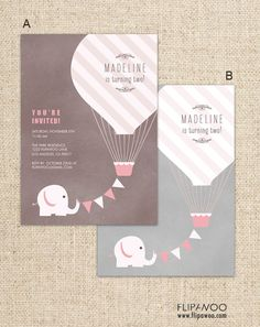 Elephant with Hot Air Balloon Birthday Party Invitation, Elephant Party Invitation - Customized Pri Twin First Birthday, 2nd Birthday Parties, Birthday Balloons, Birthday Party Invitations, Baby Birthday, Birthday Ideas, Elephant Party, Elephant Birthday, Elephant Elephant