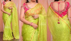 Light nd cool Pink Saree Blouse, Cotton Saree Blouse Designs, Fancy Blouse Designs, Bridal Blouse Designs, Linen Blouse, Saree Dress, Fancy Sarees, Party Wear Sarees, Gadwal Sarees Silk