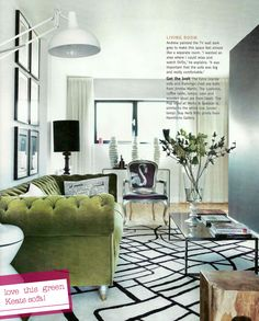 Love That Black Lamp And Everything Else Here Living Etc Uk Green Velvet Soreen Sofavelvet Chesterfield Sofaliving Room