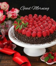 Chocolate Raspberry Torte by theresahelmer on DeviantArt Raspberry Torte, Good Morning Animation, Morning Greetings Quotes, Morning Quotes, Diy Cake, Beautiful Cakes, Morning Images, Sweets, Snacks