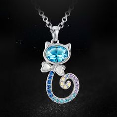 Latst Lovely Cat Shape Crystal Necklace