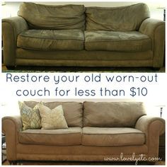 save a stained saggy sofa, cleaning tips, painted furniture, Don t give up on that old saggy sofa give it new life Diy Couch, Couch Cushions, Couches, Couch Redo, Ottoman Slipcover, Furniture Fix, Furniture Makeover, Painted Furniture, Furniture Logo