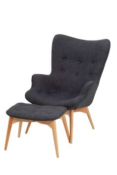 Replica Featherston Chair and Ottoman Dark Grey Linen -- The Contour chair was designed in 1951 by Victorian craftsman Grant Featherston.  This superbly crafted chair is considered an icon of Australian Furniture design. $995 from Replica Furniture