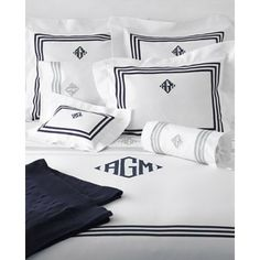 Matouk Newport Bedding Collection. Tape and mOnogramming available in a million colors!