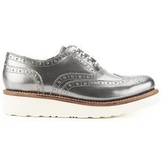 Grenson Women's Emily Leather Brogues - Silver Crackle Calf