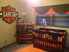 Harley baby room.  What you can't see is the tool bench we used for a changing table.