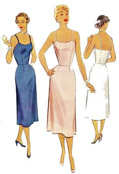 Vintage Sewing Patterns Vintage Vogue Sewing Pattern Fitted Slip and Half Slip B Reproduction Vintage Fashion 1950s, Fifties Fashion, Vintage Vogue, Vintage Style, Vintage Dress Patterns, Vintage Dresses, Vintage Outfits, Vintage Clothing, Vogue Sewing Patterns