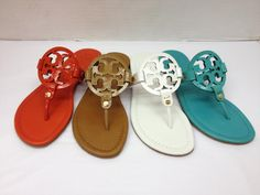 Tory Burch Miller Sandal in Flame Red Saffiano Patent, Royal Tan Saffiano Patent, White Saffiano Patent and Island Turquoise Saffiano Patent.
