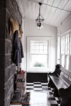 I love the stone walls and that rustic feel they give for an entryway