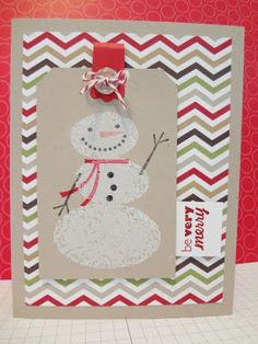 Beth's colorful card features Snow Day, Be Very Merry, and Season of Style dsp. This snowman makes me smile!