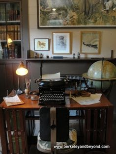 writing room in cabin of author Jack London Great idea for a study Bedroom Office, Home Office, Fountain Pen Ink, Desk Set, Filing Cabinet, Bookshelves, Writers, Shelving, Glen Ellen