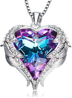 Purple Love Heart Pendant Necklaces Gifts for Wife Romantic Swarovski Necklace Fashion Jewelry Birthday Gifts for Women - Purple heart pendant necklace. Gifts for women, gifts for wife romantic Fashion Jewelry Necklaces, Cute Jewelry, Fashion Necklace, Women Jewelry, Jewelry Bracelets, Jewelry Shop, Geek Jewelry, Girls Jewelry, Cz Jewellery