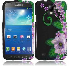 For Samsung Galaxy S4 Active i537 Design Cover - Green Flower