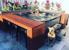 Hot Tub Backyard, Backyard Patio Designs, Backyard Makeover, Sweet Home, New Homes, Bar Bench, Outdoors, Hot Tubs, Outdoor Living