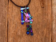 Dichroic Fused Glass Necklace with Chrystal Beads