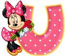Alfabeto animado de Minnie Mouse con ramo de rosas U.