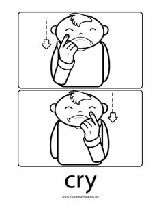 A weeping infant wipes a tear from his cheeks to illustrate the word Sign Language Book, Simple Sign Language, Sign Language Chart, Sign Language Phrases, Sign Language Alphabet, Learn Sign Language, American Sign Language, Kids Sleep, Child Sleep