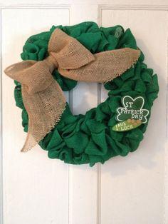 Green Burlap Wreath Saint Patrick's Day St. Patrick shamrock Irish remove able burlap bow Wall decor door decor MOSTaDOORableWREATHS (34.00 USD) by MOSTaDOORableWREATHS