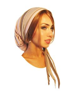 Tichel, Hair Snood, Head Scarf, Pre Tied Bandana Alternative: Pink Shine Taupe Beige Wraps. . . see many more styles in shop