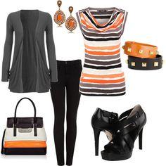 Orange, Grey n' Black, created by tammietoo2 on Polyvore