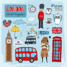 british soldiers: Set of hand-drawn illustrations of London landmarks and iconic symbols including beefeater guard Big Ben tea telephone booth red double-decker bus Illustration London Sketch, London Drawing, London Icons, London Bus, Cityscape Drawing, Great Britain Flag, Postage Stamp Design, Cartoon Clip, London Landmarks