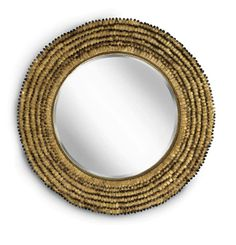 Petal Mirror Regina Andrew features opulent gold leafing. Overlapping rows of textured petals offer floral inspired design for bathroom or bedroom. The round shape is timeless and classic for any traditional or modern decor.