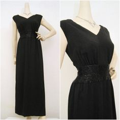 60s Gown Vintage Black Crepe with Beaded Waistline by voguevintage, $85.00