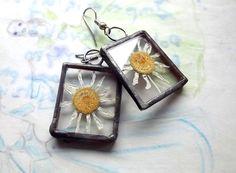 Jewellery. Earrings. Earrings with camomile. by AcoyaJewellery
