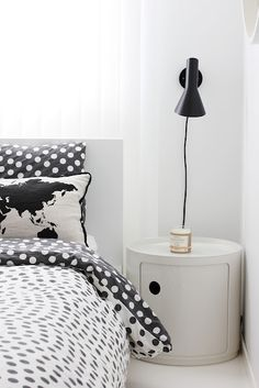 Black and white bedroom.  Nordic leaves.