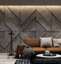 Living room design by: Amazing Interiors Strong lines. Squared arms and rich hues. Living room design nacFamily room designDesign your room for Interior Walls, Home Interior Design, Interior Decorating, Design Interiors, Living Room Designs, Living Room Decor, Wall Panel Design, Wall Cladding, Decoration
