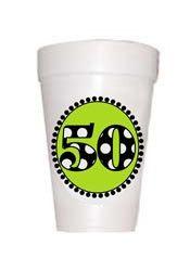 #50 Birthday Styrofoam Cups