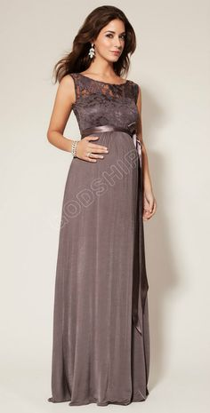 Elegant Lace Backless Empire Long Cotton Formal Maternity Dresses