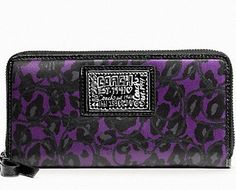 Coach Daisy Ocelot Print Purple Zip Around Wallet / New with Tags / Gorgeous  $99.89